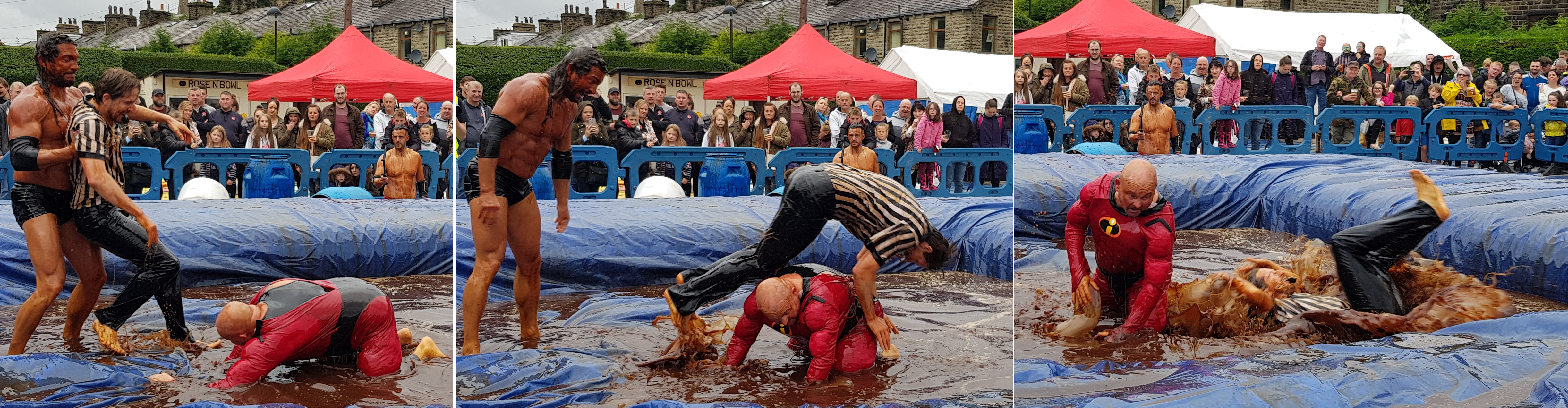 Gravy Wrestling 2018 - Mud man push ref